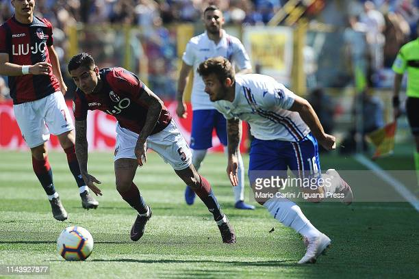 Karol Linetty of UC Sampdoria in action during the Serie A match between Bologna FC and UC Sampdoria at Stadio Renato Dall'Ara on April 20 2019 in...