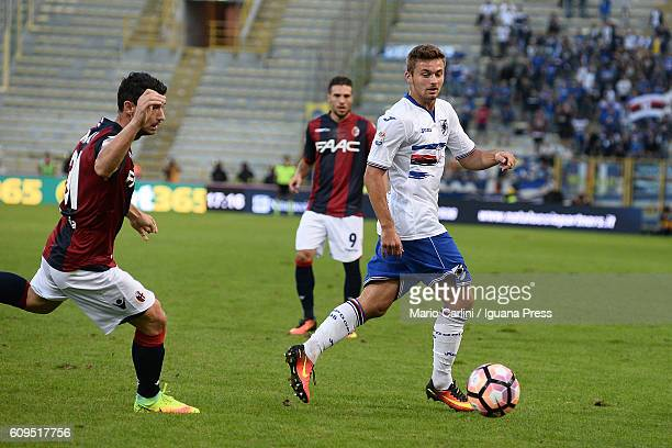 Karol Linetty of UC Sampdoria in action during the Serie A match between Bologna FC and UC Sampdoria at Stadio Renato Dall'Ara on September 21 2016...