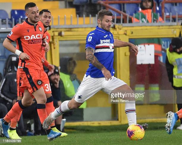 Karol Linetty of UC Sampdoria in action during the Serie A match between UC Sampdoria and Udinese Calcio at Stadio Luigi Ferraris on November 24 2019...