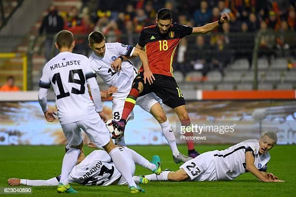 Karol Mets defender of Estonia, Yannick Carrasco forward of Belgium, Taijo Teniste midfielder of Estonia during the World Cup Qualifier Group H match...