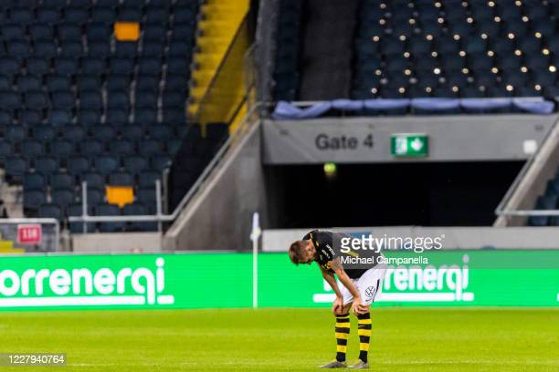 Karol Mets of AIK dejected after losing 1-2 the Allsvenskan match between AIK and IF Elfsborg at Friends Arena on August 6, 2020 in Stockholm, Sweden.