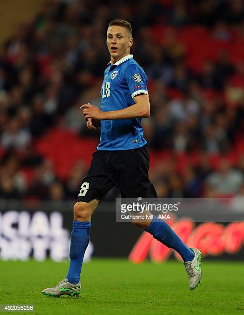 Karol Mets of Estonia during the UEFA EURO 2016 Qualifier match between England and Estonia at Wembley Stadium on October 9 2015 in London United...