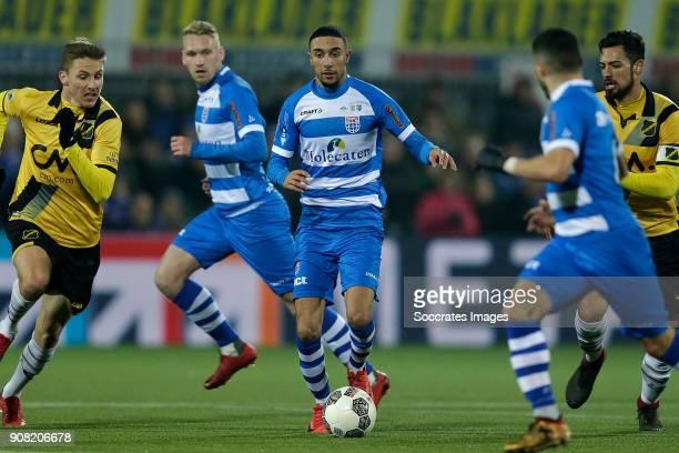 Karol Mets of NAC Breda Stef Nijland of PEC Zwolle Younes Namli of PEC Zwolle Pablo Mari Villar of NAC Breda during the Dutch Eredivisie match...