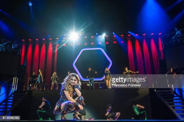 Karol Sevilla AKA Luna Valente in Mexical Telenovela Soy Luna performs on stage on February 2 2018 at Mediolanum Forum in Milan Italy