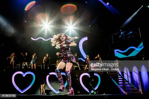Karol Sevilla aka Luna Valente in Mexican telenovela Soy Luna performs on stage on February 2 2018 in Milan Italy