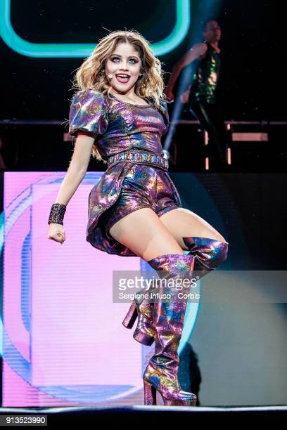 Karol Sevilla better known as Luna Valente in Mexican telenovela Soy Luna performs on stage on February 2 2018 in Milan Italy