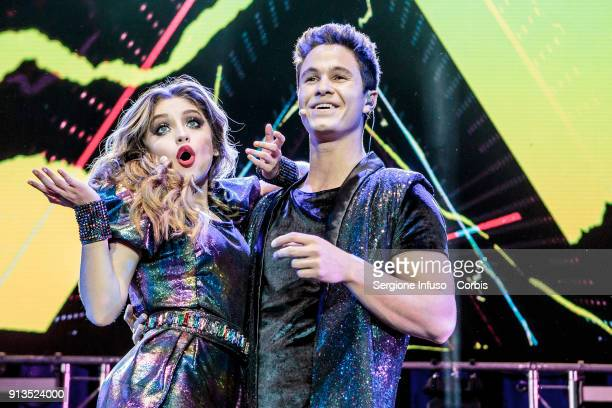 Karol Sevilla better known as Luna Valente in Mexican telenovela Soy Luna and Michael Ronda better known as Simon Alvarez perform on stage on...