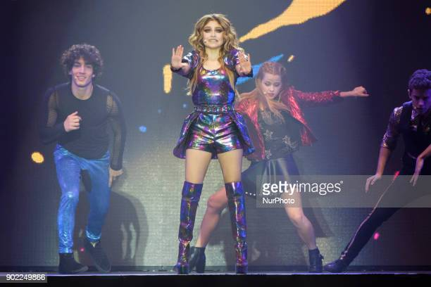 Karol Sevilla performs on stage during Disney show Soy Luna at Palacio de los Deportes on January 7 2018 in Madrid Spain