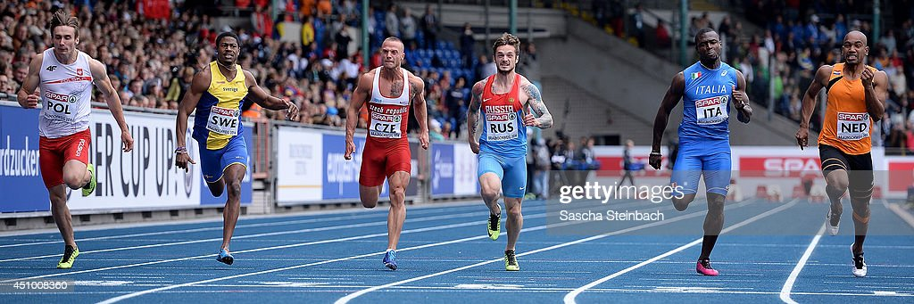Karol Zalewski of Poland, Odain Rose of Sweden, Jan Veleba of Poland, Mikhail Idrisov of Russia, Delmas Obou of Italy and Giovanni Codrington of Netherlands compete in the Men's 100m during first day of the European Athletics Team Championship at Eintracht Stadion on June 21, 2014 in Braunschweig, Germany.