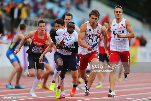 Karol Zalwski of Poland competes in the Men's 4x400 Relay on day four of the European Athletics U23 Championships at Kadriorg Stadium on July 9, 2015...