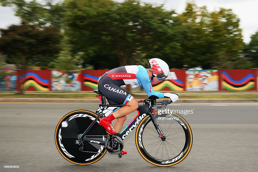 Karol-Ann Caneul of Canada in action during the Women's Elite Individual Time Trial on day three of the UCI Road World Championships on September 22, 2015 in Richmond, Virginia.