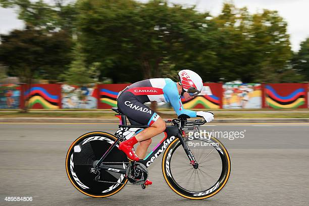 KarolAnn Caneul of Canada in action during the Women's Elite Individual Time Trial on day three of the UCI Road World Championships on September 22...