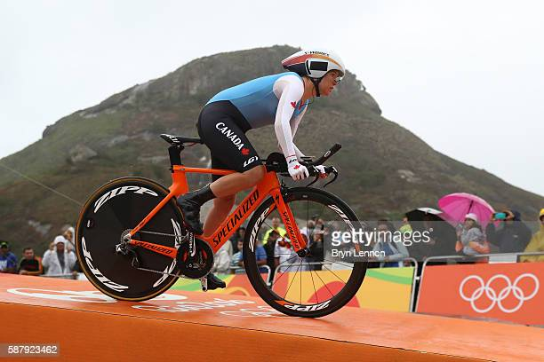 KarolAnn Canuel of Canada starts the Cycling Road Women's Individual Time Trial on Day 5 of the Rio 2016 Olympic Games at Pontal on August 10 2016 in...