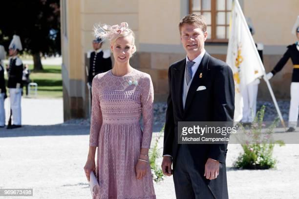 Karolin A Johansson and LarsErik Tindre arrive at the christening of Princess Adrienne of Sweden at Drottningholm Palace Chapel on June 8 2018 in...