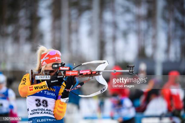 Karolin Horchler of Germany at the shooting range during the Women 7.5 km Sprint Competition at the BMW IBU World Cup Biathlon Kontiolahti at on...