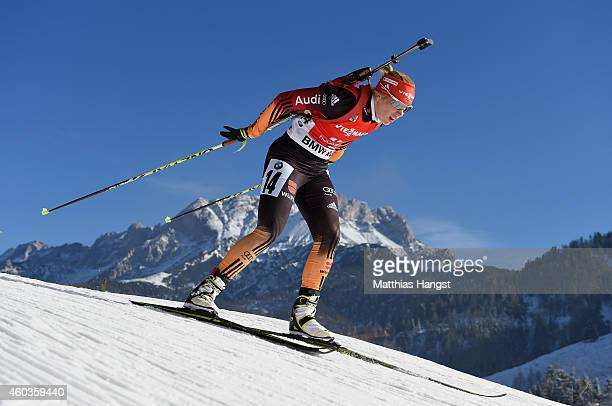 Karolin Horchler of Germany competes during the women's 75 km sprint event during the IBU Biathlon World Cup on December 12 2014 in Hochfilzen Austria