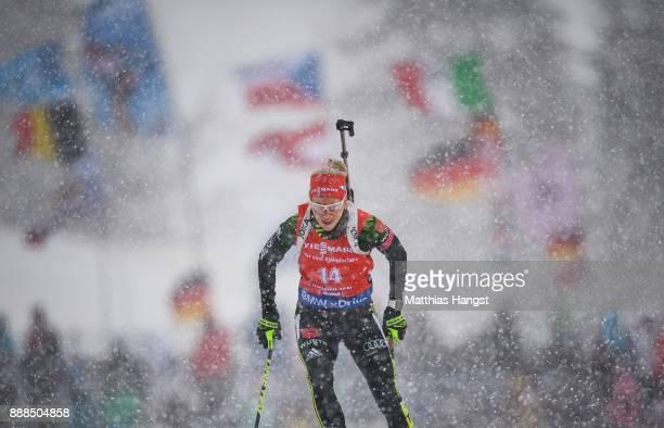 Karolin Horchler of Germany competes in the 7.5 km Women's Sprint during the BMW IBU World Cup Biathlon on December 8, 2017 in Hochfilzen, Austria.