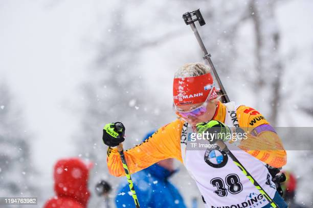 Karolin Horchler of Germany in action competes during the Women 10 km Pursuit Competition at the BMW IBU World Cup Biathlon Ruhpolding on January 19,...