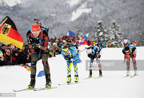 Karolin Horchler of Germany in action during Women's 4x 6km relay on Day 5 of the IBU Biathlon WOrld Cup Ruhpolding on January 17 2016 in Ruhpolding...
