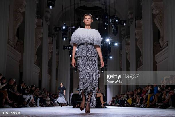Karolin Wolter walks the runway during the Givenchy Haute Couture Fall/Winter 2019 2020 show as part of Paris Fashion Week on July 02 2019 in Paris...