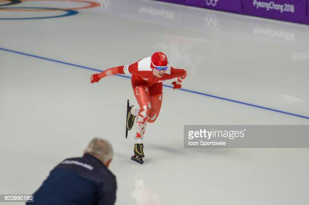 Karolina Bosiek heads down the backstretch during the 1000M Ladies Final during the 2018 Winter Olympic Games at Gangneung Oval on February 14 2018...