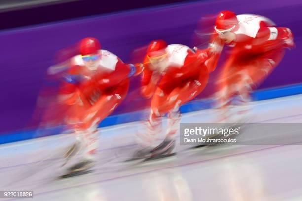 Karolina Bosiek Luiza Zlotkowska and Natalia Czerwonka of Poland compete during the Speed Skating Ladies' Team Pursuit Final D on day 12 of the...