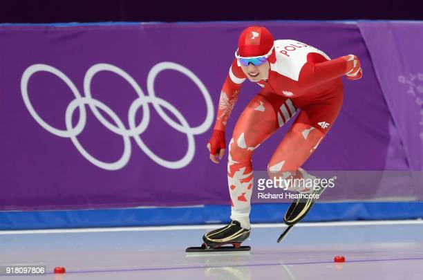 Karolina Bosiek of Poland competes during the Ladies' 1000m Speed Skating on day five of the PyeongChang 2018 Winter Olympics at Gangneung Oval on...