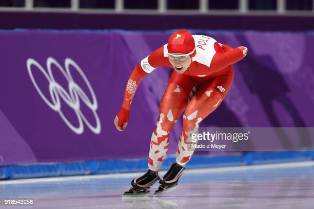Karolina Bosiek of Poland competes during the Women's Speed Skating 3000m on day one of the PyeongChang 2018 Winter Olympic Games at Gangneung Oval...