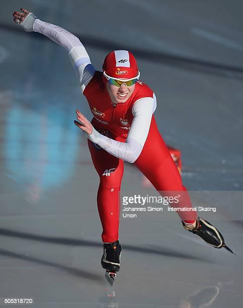 Karolina Bosiek of Poland competes in the ladies 500 m heats during day 1 of ISU speed skating junior world cup at ice rink Pine stadium on January...