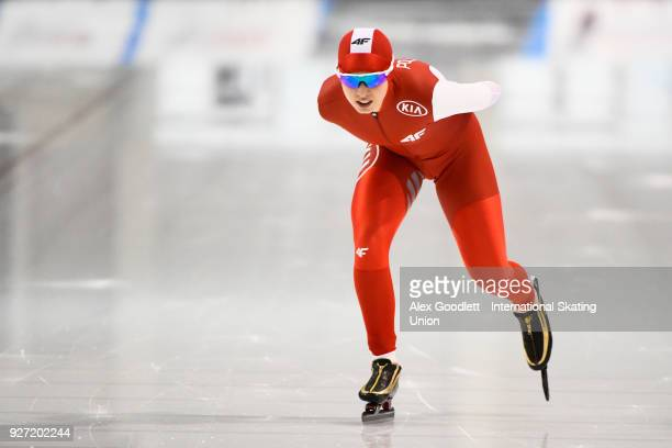 Karolina Bosiek of Poland performs in the ladies 1500 meter final during day 3 of the ISU Junior World Cup Speed Skating event at Utah Olympic Oval...