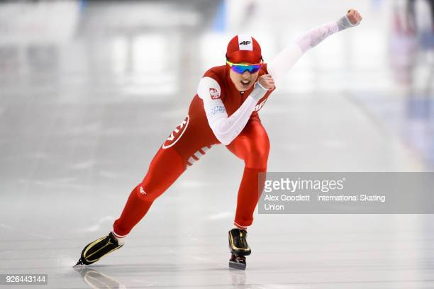 Karolina Bosiek of Poland performs in the women's 500 meter final during the ISU Junior World Cup Speed Skating event at Utah Olympic Oval on March 2...