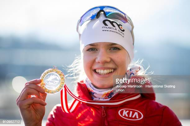 Karolina Bosiek of Poland poses in the Ladies 3000m medal ceremony during the ISU Junior World Cup Speed Skating at Olympiaworld Ice Rink on January...