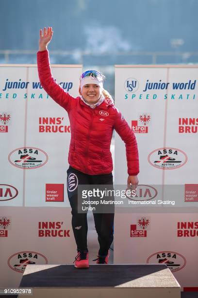 Karolina Bosiek of Poland reacts in the Ladies 3000m medal ceremony during the ISU Junior World Cup Speed Skating at Olympiaworld Ice Rink on January...