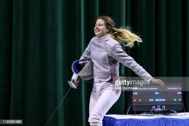 Karolina Cieslar of St John's reacts after winning the championship bout in Women's Saber at the National Collegiate Fencing Championships on March...