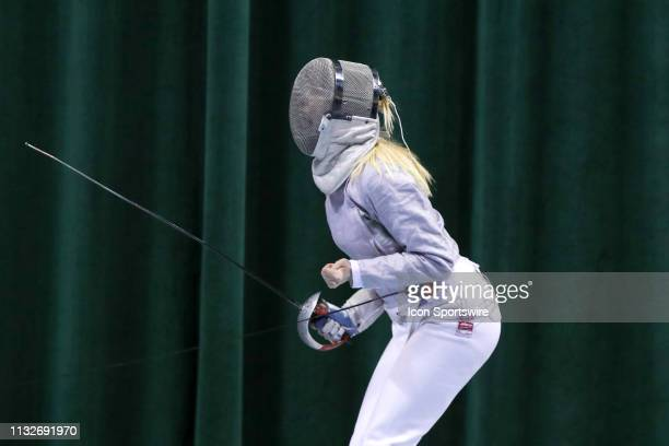 Karolina Cieslar of St John's reacts during the championship bout in Women's Saber at the National Collegiate Fencing Championships on March 24 at...