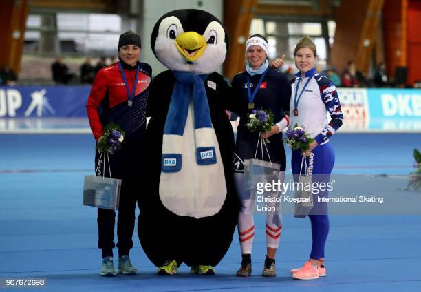 Karolina Erbanova of Czech Republic poses during the medal ceremony after winning the 2nd place Vanessa Herzog of Austria poses during the medal...