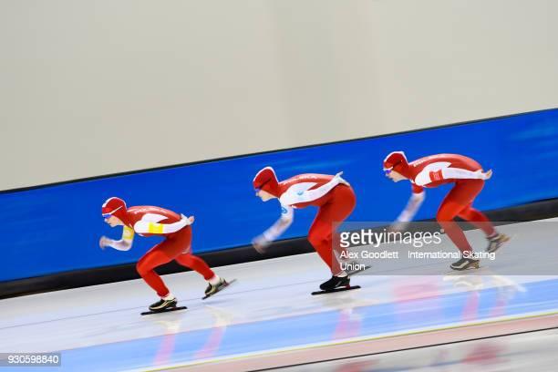 Karolina Gasecka Natalia Jabrzyk and Karolina Bosiek of Poland perform in the ladies team pursuit during the World Junior Speed Skating Championships...