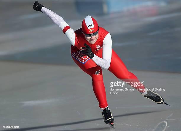 Karolina Gasecka of Karolina Gasecka competes in the ladies 500 m heats during day 1 of ISU speed skating junior world cup at ice rink Pine stadium...