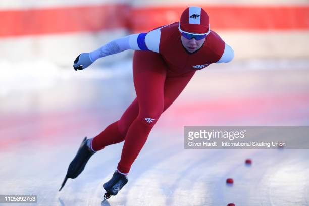 Karolina Gasecka of Poland competes during the Ladies 1500M sprint race Day two of Junior World Cup Speed Skating at the Oulunkylaen Liikuntapuistoon...