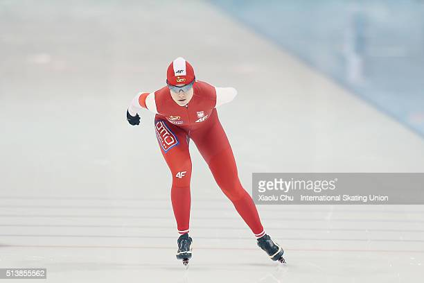 Karolina Gasecka of Poland competes in the Ladies 1500m on day one of the ISU Junior World Cup speed skating event at the Jilin Provincial Speed...