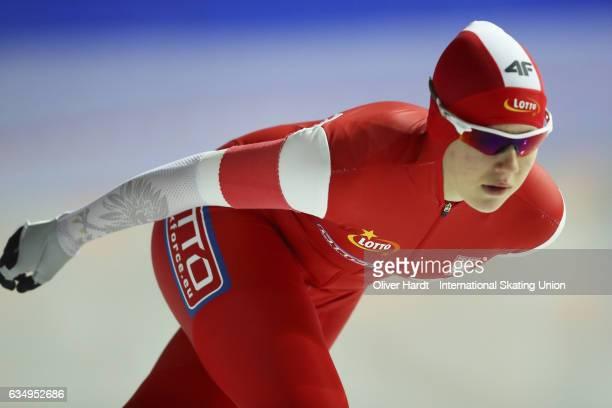 Karolina Gasecka of Poland competes in the Ladies Jun 3000m race during the ISU Junior World Cup Speed Skating Day 1 at the Gunda Niemann Stirnemann...
