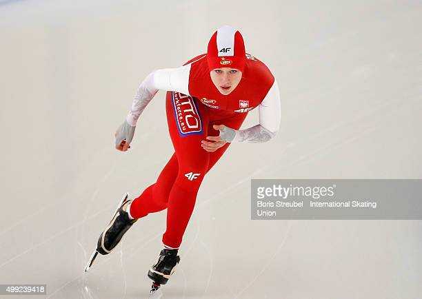 Karolina Gasecka of Poland competes in the women's 1500m race during day two of the ISU Junior World Cup Speed Skating at Sportforum...