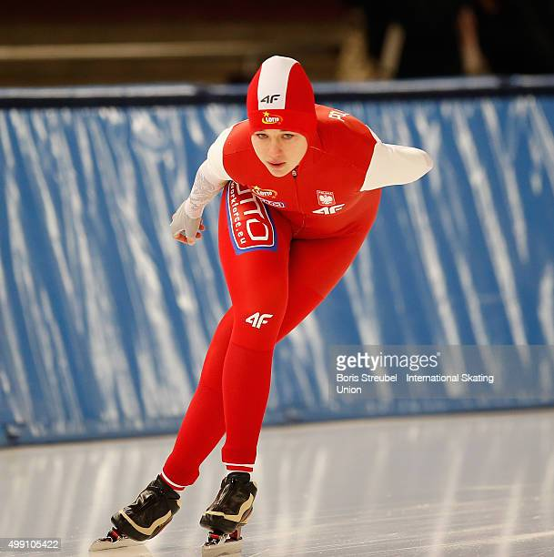 Karolina Gasecka of Poland competes in the women's 3000m race during day one of the ISU Junior World Cup Speed Skating at Sportforum...