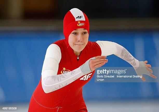 Karolina Gasecka of Poland competes in the women's 500m race during day two of the ISU Junior World Cup Speed Skating at Sportforum Hohenschoenhausen...