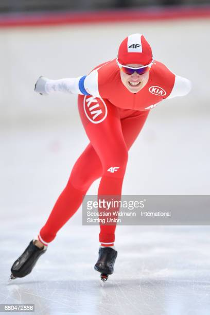 Karolina Gasecka of Poland performs during the Ladies 1500 Meter at the ISU Junior World Cup Speed Skating at Max Aicher Arena on November 26 2017 in...