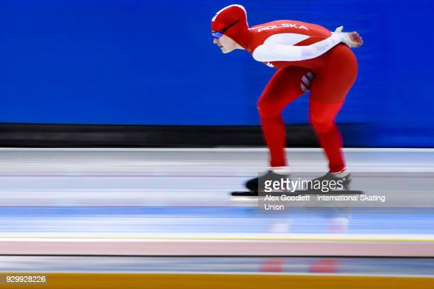 Karolina Gasecka of Poland performs in the ladies 1500 meter final during the World Junior Speed Skating Championships at Utah Olympic Oval on March...