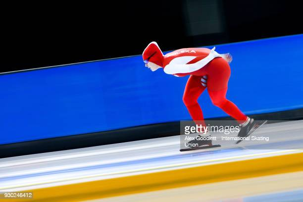 Karolina Gasecka of Poland performs in the ladies 3000 meter final during the World Junior Speed Skating Championships at Utah Olympic Oval on March...