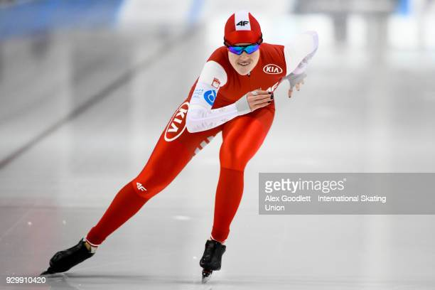 Karolina Gasecka of Poland performs in the ladies 500 meter final during the World Junior Speed Skating Championships at Utah Olympic Oval on March 9...