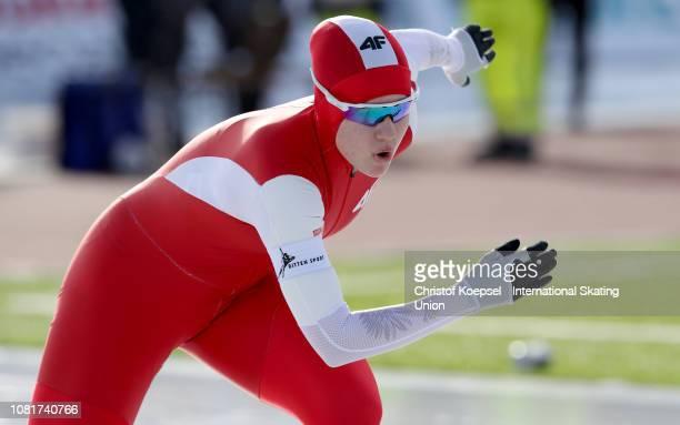 Karolina Gasecka of Poland skates during the ladies 1500 meter allround race during Day 2 of the ISU European Speed Skating Championships at Ritten...