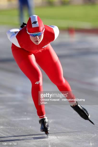 Karolina Gasecka of Poland skates during the ladies 3000 meter allround race during Day 1 of the ISU European Speed Skating Championships at Ritten...